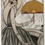 """Georges Lepape (1887-1971) """"Il ventaglio d'oro"""": Ventaglio e bracciali 1920 Gazette du bon ton, Litografia a colori """"au pochoir"""" e oro in rilievo"""